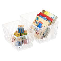 Clear Handled Storage Baskets try 2 smalls on corner spinners? Kitchen Cabinet Storage, Storage Cabinets, Storage Shelves, Food Storage, Storage Ideas, Shelf, Fridge Shelves, Woodworking Software, Woodworking Classes