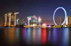 Photograph Happy Birthday Singapore by Heshan de Mel on National Day Today, Beautiful World, Beautiful Places, Singapore Island, Travel Drawing, World Cities, City Lights, Asia Travel, Nature Pictures