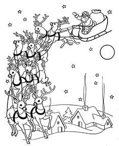 Beautiful vintage look coloring page of Santa and Reindeer