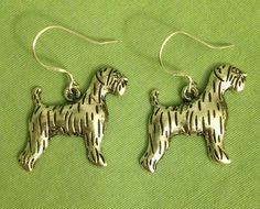 LG TERRIER DOG EARRINGS - Pewter w/Sterling Silver Ear Wires AIREDALE SCHNAUZER #Handmade #DropDangle