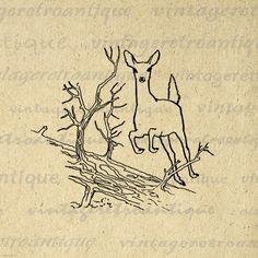 Printable Leaping Deer Image Graphic Download Digital Illustration Antique Clip…