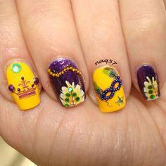 Mardi Gras nail art design