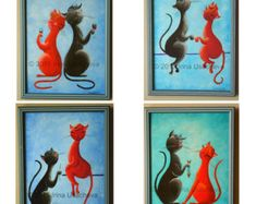Original Fantasy Cat Acrylic Painting for Sale by NaturelandsAndCo