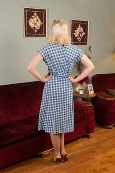 1950s Vintage Dress Cheerful Blue Plaid Print Cotton by FabGabs