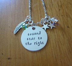"Peter Pan Necklace. Inspired by Disney's Peter Pan. ""Second Star To The Right"". Swarovski crystals, for women or girls. Hand Stamped by WithLoveFromOC, $22.00. #PeterPan #Disney #Jewelry"