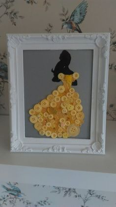Disney inspired Belle button art #clairescraftboutique