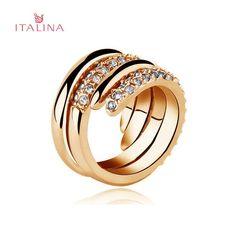 Sale 25% (5.61$) - Italina 2pcs Austrian Crystal Rhinestone Finger Ring Rose Gold