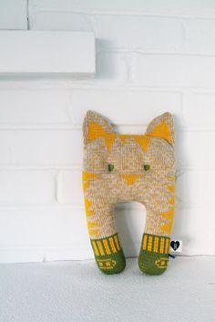Morgan the cat- plush toy- cushion- pillow- knit.