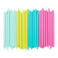 SÖTVATTEN, Drinking straw, yellow/turquoise fluorescent, light turquoise/bright pink