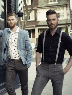 If you wear the suspenders on a standard basis, you can check out the different thickness of the suspenders. Suspenders have existed since the early Black suspenders are popular due to their flexible neutrality. T-shirt Und Jeans, Suspenders Outfit, Men In Suspenders, Grey Slacks, Style Masculin, Moda Blog, Herren Outfit, Mens Fashion, Fashion Trends