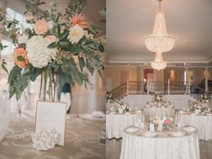 Elegant Pastel Peach Wedding Reception | Sharon Elizabeth Photography