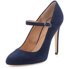 Halston Heritage Carol Suede Mary Jane Pump (240 CAD) ❤ liked on Polyvore featuring shoes, pumps, heels, zapatos, navy, suede pumps, heeled mary janes, maryjane pumps, navy suede pumps and navy blue pumps