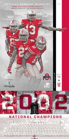A limited edition collectible 2002 Ohio State Buckeyes Football National Champions Poster included with all official 2015 Ohio State vs. Northern Illinois Gameday Magazines. #GoBucks #OSU