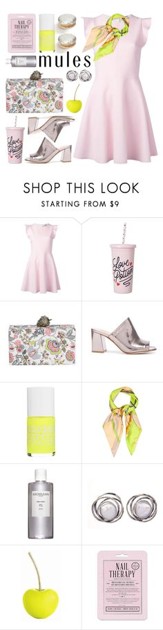 """slip 'em on: mules"" by jesuisunlapin ❤ liked on Polyvore featuring MSGM, Edie Parker, Maryam Nassir Zadeh, Models Own, Hermès, Sachajuan, Arteriors, Love 21, Ladurée and metallic"