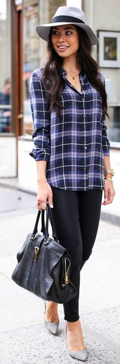 Purple Plaid Button Down Fall Inspo by With Love From Kat