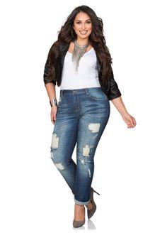 Destructed Cuffed Bootcut Jeans Destructed Cuffed Bootcut Jeans