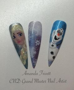 How amazing are these designs by Amanda Trivett @nailsashburton (facebook) all handpainted #elsa #olaf #nails using #cndshellac & #lecente #glitters #lovelecente