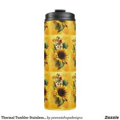 Shop Thermal Tumbler Stainless steel body sunflowers created by Personalize it with photos & text or purchase as is! Classic Blankets, Sunflower Design, Custom Tumblers, Gifts For Family, Sunflowers, Stainless Steel, Bottle, Shop, Ebay