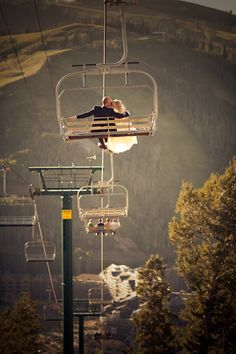Love the idea of taking a chair lift up to top of the mountain.  Read more - http://www.stylemepretty.com/2010/09/16/deer-valley-utah-wedding-by-erin-kate-photography/