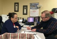 David Ermold right files to run for Rowan County Clerk in Kentucky as Clerk Kim Davis looks on. Davis denied Ermold and his husband a marriage license two years ago because she was opposed to gay marriage. (i.imgur.com) submitted by tt12345x to /r/pics 14 comments original   - Unique #Pictures from around the World and This Strange Internet - Uncensored #Creativity - #Funny and Clever Humor - Weird LOL #Jokes - Embarrassing ROFL Humor - Images of Amateur #Photographers from Everywhere Around…