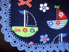 Pattern For Crochet Edging On Fleece Blanket – Easy Crochet Patterns Knit Or Crochet, Crochet Crafts, Yarn Crafts, Crochet Projects, Fleece Projects, Fleece Blanket Edging, Baby Blanket Crochet, Crochet Baby, Crochet Blankets