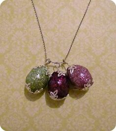 Spring Fling: Eggstra Special Pendants~ Styrofoam beads, how easy is that and so pretty.RB