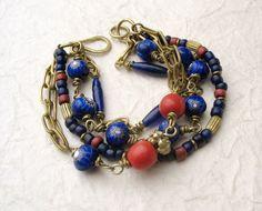 Blue Chunky Multi Strand Bracelet -  Boho Beaded Bracelet  - Brass Chain Bracelet - Cobalt Millefiori Trade Beads - OOAK