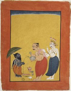 the Dwarf Avatar of Vishnu Page from a dispersed series of the Bhagavata Purana (Story of the Lord Vishnu) Artist/maker unknown, Indian Geography: Made in Mankot, Jammu and Kashmir, India, Asia Date: c. Mughal Paintings, Indian Paintings, Asian Gallery, Bhagavata Purana, Philadelphia Museum Of Art, Traditional Paintings, Traditional Art, Hindu Deities, Krishna Art