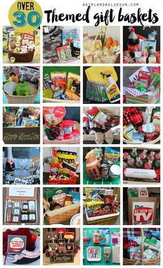 over 30 amazing themed gift basket ideas --something for everyone! baskets Themed gift basket roundup - A girl and a glue gun Teen Gift Baskets, Theme Baskets, Raffle Baskets, Basket Gift, Gift Basket Themes, Unique Gift Basket Ideas, Family Gift Baskets, Fundraiser Baskets, Creative Gift Baskets