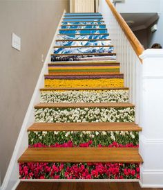 Stair Art, Stair Decor, Black And White Stairs, Marble Stairs, Marble Floor, 3d Flooring, Photo Wall Stickers, Photo Mural, Door Murals