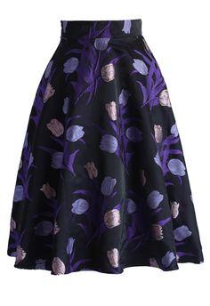 Purple Tulips A-line Midi Skirt - New Arrivals - Retro, Indie and Unique Fashion