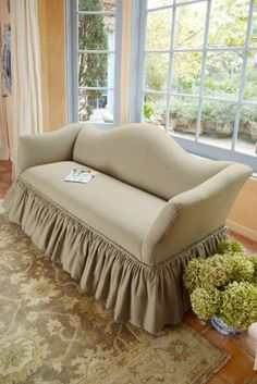 Emma Sofa - Linen Sofa With Serpentine Camel Back And Ruffled Skirt, Sofas And Settees, Furniture For The Home | Soft Surroundings
