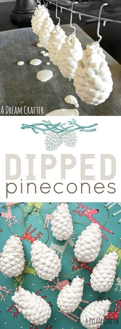 This easy DIY paint-dipped pinecone craft is a great way to add a subtle, classic look to your Christmas tree or holiday decorations. Clean off pinecones from outside or from a craft store, paint them, and hang them up to dry! Try adding other colors or textures, like glitter, to fit the theme of your home or holiday party.