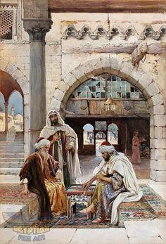 The Tric-Trac Game - The Backgammon Game - Arabian Art - Handmade Oil Painting On Canvas Star Painting, Oil Painting On Canvas, Arabian Art, Islamic Paintings, Paintings Famous, Egyptian Art, Ancient Art, Islamic Art, Art History