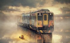 Photography Manipulation  Train Cloud Reflection Fantasy Water Wallpaper