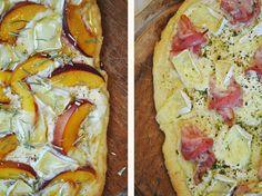 Zweierlei Käsefladen (mit Nektarine, Rosmarin & Honig / mit Bacon und Gartenkräutern)
