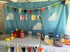 Toy story party backdrop bunting clouds fun birthday