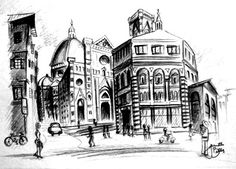 BALLAS ART: florence, italy sketches - 5x7