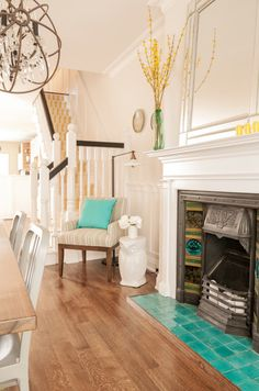 House of Turquoise: Fia Interiors. I would so love this in the dining room around the fireplace Bedroom Fireplace, Fireplace Hearth, Living Room With Fireplace, Fireplace Surrounds, Fireplace Design, Home Living Room, Living Spaces, Fireplace Tiles, Mantle