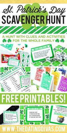 Free printables for an easy-to-prep St. Patrick's Day Scavenger Hunt that the whole family can enjoy! What I love about this is that it has clues AND activities - the kids are going to LOVE this!