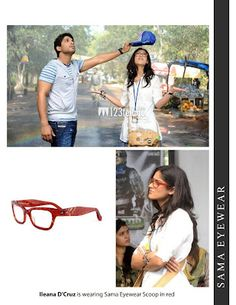 "Bollywood star Ileana D' Cruz is wearing Sama Eyewear ""Scoop"" eyeglass frame in Red.  (price includes free prescription lenses) $325"