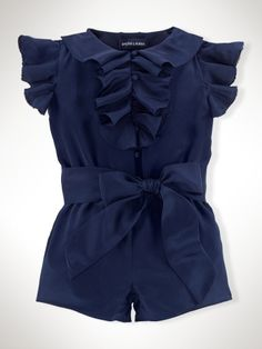 Ruffled Silk Romper - Infant Girls Dresses & Rompers - Savannah must have one of these!! RalphLauren.com