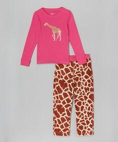 Another great find on #zulily! Fuchsia Giraffe Pajama Set - Toddler & Girls #zulilyfinds