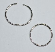 9ct White Gold 15mm Hinged Hoop Sleeper Earrings Jer648b Made In England