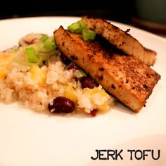 Jerk Seitan and/or Tofu over Caribbean Rice and Beans | Quiche-a-Week (*seitan is not GF so use tofu!)