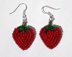 Beaded Strawberry earrings. by WildlyBeadingHearts on Etsy