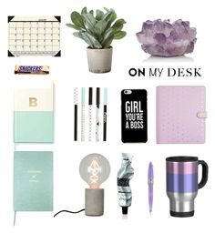 """""""On my desk comp"""" by jessica-marks ❤ liked on Polyvore featuring interior, interiors, interior design, home, home decor, interior decorating, Kate Spade, McCoy Design, Sloane Stationery and Pineider"""