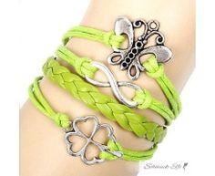 Armband Kleeblatt  LUCKY LING LING  kiwi grün  im Organza...