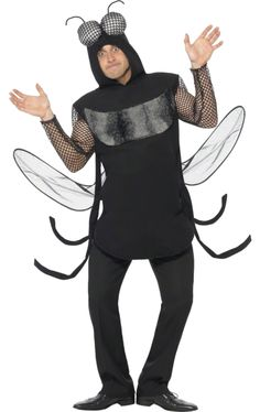 Perfect for Halloween, the Adult Scary Fly Costume includes a dark top with a padded front and pair of wings. Ant Costume, Costume Noir, Joker Costume, Black Costume, Queen Costume, Costume Ideas, Costume Wings, Cartoon Costumes, Funny Costumes