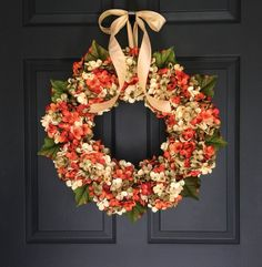 Blended Hydrangea Fall Front Door Wreaths | Exquisite and Unique Autumn Door Wreath and Fall Porch Decor | Great Housewarming Gift idea